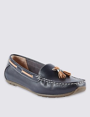 Wide Fit Leather Tassle Boat Shoes, NAVY, catlanding