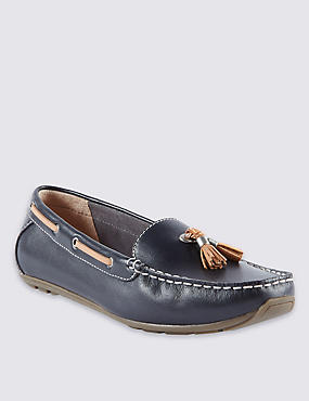 Wide Fit Leather Boat Shoes with Footglove™, NAVY, catlanding