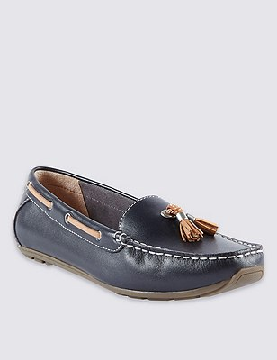 Leather Wide Fit Tassel Boat Shoes, NAVY, catlanding