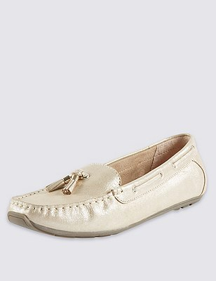 Leather Wide Fit Tassel Boat Shoes, GOLD, catlanding