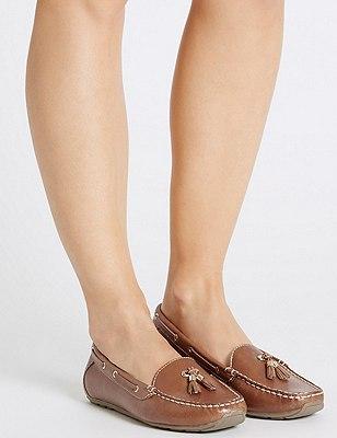 Leather Wide Fit Tassel Boat Shoes, TAN, catlanding