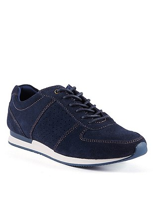 Stain Away™ Suede Wide Fit Lace Up Perforated Trainers, NAVY MIX, catlanding