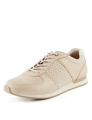 Stain Away™ Suede Wide Fit Lace Up Perforated Trainers, NUDE, catlanding