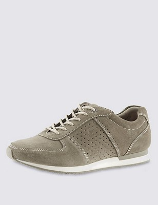 Stain Away™ Suede Wide Fit Perforated Trainers, KHAKI, catlanding