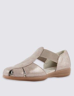 Leather Wide Fit Elastic Strap Sandals, METALLIC, catlanding
