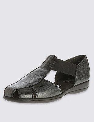 Leather Wide Fit Elastic Strap Sandals, BLACK MIX, catlanding