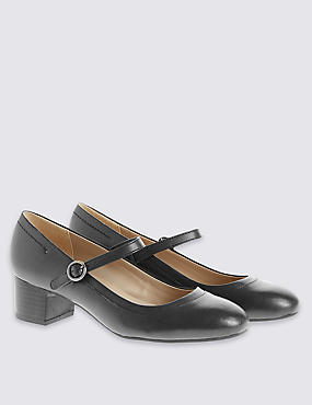 Leather Heeled Dolly Court Shoes , NAVY, catlanding