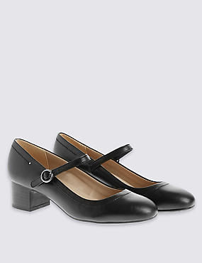 Leather Heeled Dolly Court Shoes , BLACK, catlanding