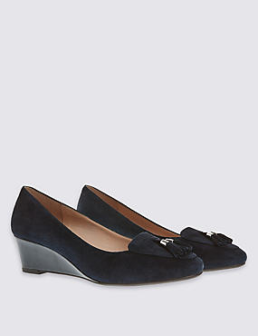 Wide Fit Suede Wedge Court Shoes, NAVY, catlanding
