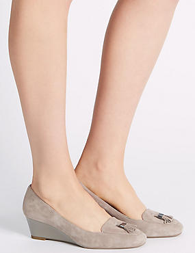 Wide Fit Suede Wedge Court Shoes, MINK, catlanding
