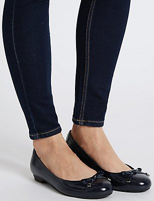 Wide Fit Leather Bow Pump Shoes, NAVY, catlanding