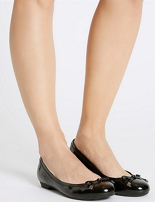 Leather Wide Fit Flat Bow Pumps shoes, BLACK PATENT, catlanding