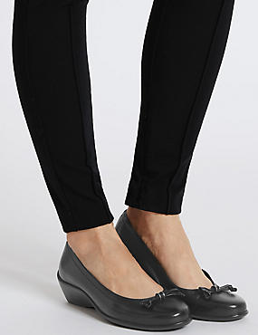 Wide Fit Leather Wedge Ballerina Shoes, BLACK, catlanding