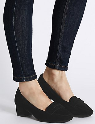 Wide Fit Suede Block Heel Court Shoes, BLACK, catlanding