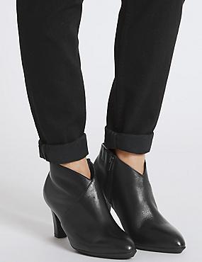 Wide Fit Leather Angular Heel Shoe Boots, BLACK, catlanding