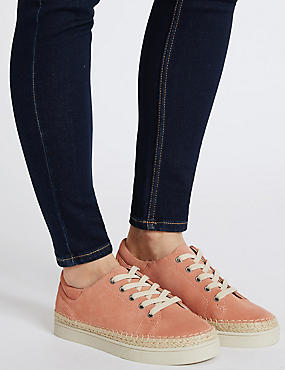 Wide Fit Suede Trainers with Stain Away™, DUSKY PINK, catlanding