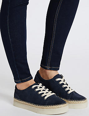 Wide Fit Suede Trainers with Stain Away™, NAVY, catlanding