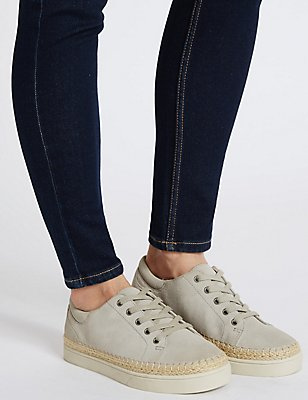 Wide Fit Suede Trainers, LIGHT GREY, catlanding