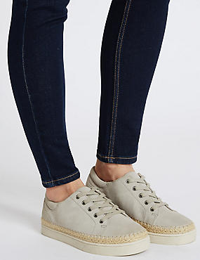 Wide Fit Suede Trainers with Stain Away™, LIGHT GREY, catlanding