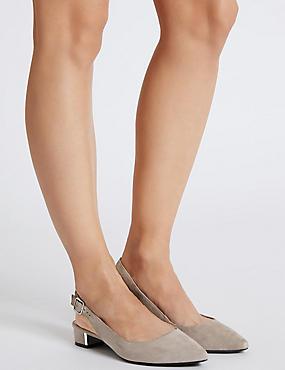 Wide Fit Suede Block Heel Court Shoes, GREY, catlanding