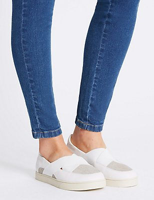 Wide Fit Leather Pull On Trainers, WHITE MIX, catlanding