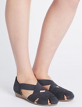 Sandales larges en cuir, dotées de la technologie StainAway™, BLEU MARINE, catlanding