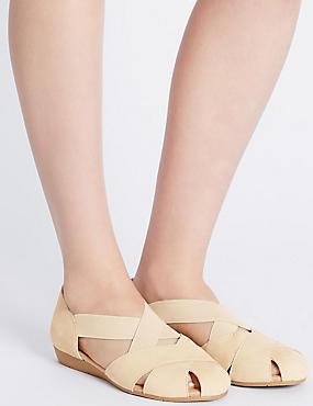 Sandales larges en cuir, dotées de la technologie StainAway™, LIN, catlanding