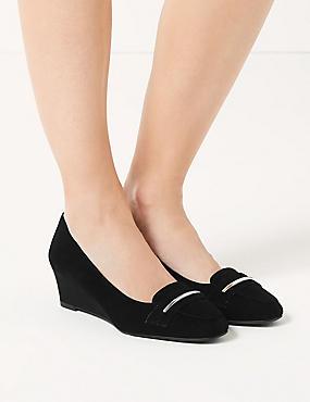 Wide Fit Suede Wedge Heel Court Shoes, BLACK, catlanding