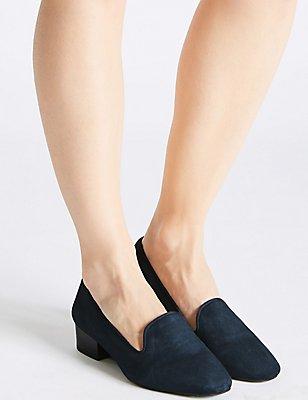 Wide Fit Suede Block Heel Pump Shoes, NAVY, catlanding