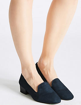 Wide Fit Suede Block Heel Pump Shoes, NAVY, catlanding