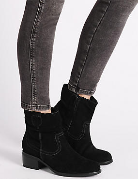 Stain Away™ Suede Ruched Ankle Boots, BLACK, catlanding