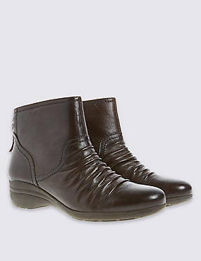 Leather Wedge Tassle Ruched Ankle Boots, CHOCOLATE, catlanding