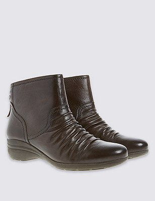 Tassel Ruched Ankle Boots, CHOCOLATE, catlanding