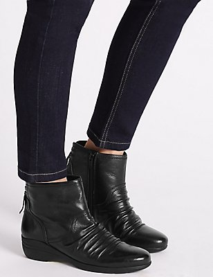 Leather Wedge Tassle Ruched Ankle Boots, BLACK, catlanding