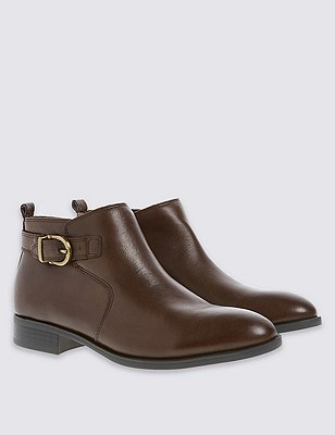Leather Ankle Boots with Footglove™, CHOCOLATE, catlanding
