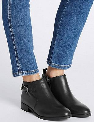 Leather Ankle Boots with Footglove™, BLACK, catlanding