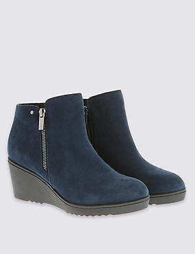 Stain Away™ Sporty Wedge Ankle Boots with Footglove™, NAVY, catlanding