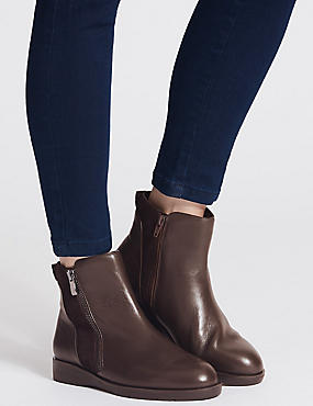 Leather Side Zip Ankle Boots, CHOCOLATE, catlanding