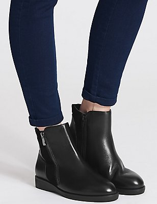 Leather Side Zip Ankle Boots, BLACK, catlanding