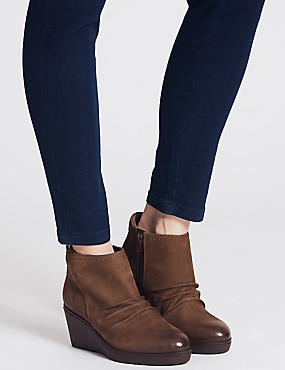 Leather Wedge Heel Side Zip Ankle Boots, MINK, catlanding