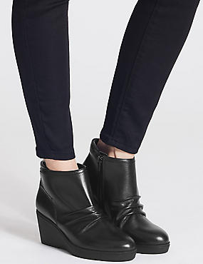 Leather Wedge Heel Side Zip Ankle Boots, BLACK, catlanding