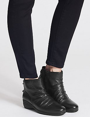 Leather Wedge Heel Ruched Ankle Boots, BLACK, catlanding