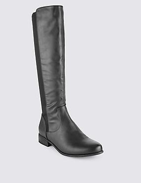 Block Heel Riding Knee High Boots, BLACK, catlanding