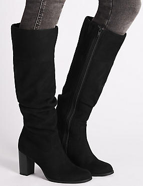 Long Ruched High Heel Boot with Insolia® , BLACK, catlanding