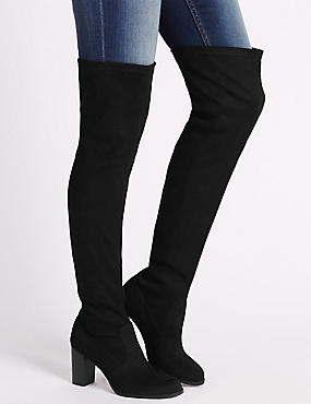 Block Heel Over the Knee Boots with Insolia®, BLACK, catlanding