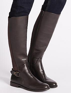 Block Heel Knee High Boots, BROWN, catlanding