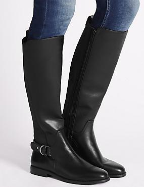 Block Heel Knee High Boots, BLACK, catlanding