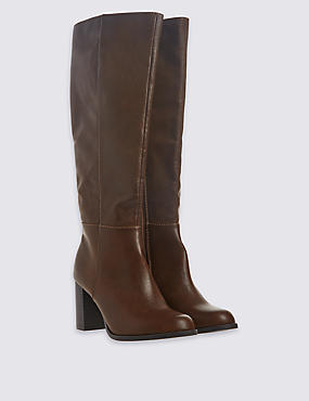 Block Heel Side Zip Knee High Boots, TAN, catlanding