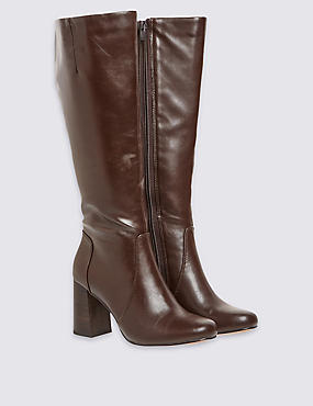 Flared Heel Knee High Boots with Insolia®, CHOCOLATE, catlanding