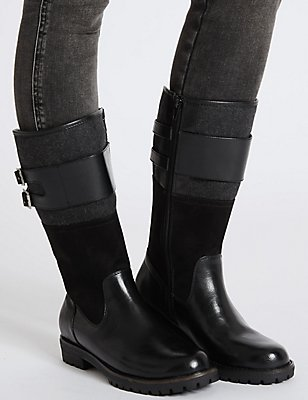 Block Heel Strapped Boots, BLACK MIX, catlanding